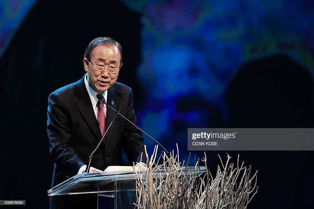 United Nations Secretary General Ban Ki-moon delivers a speech on May 23, 2016 during the World Humanitarian Summit openig cerenomy in Istanbul. The over 60 heads of state and government gathered for the two-day summit convened by UN Secretary General Ban Ki-moon will have to defeat considerable scepticism that the event will turn into a well-intentioned but fruitless talking shop. KOSE
