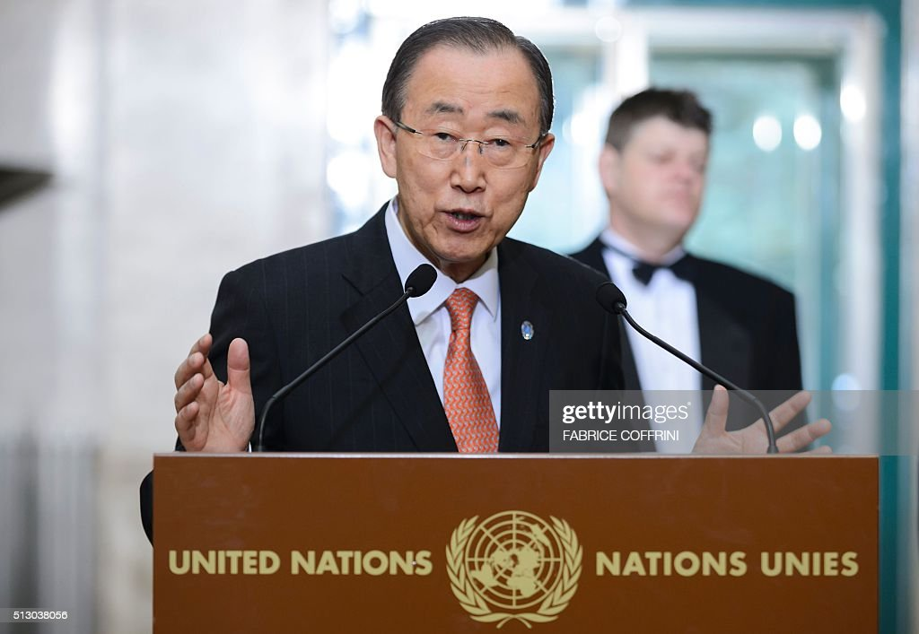 United Nations Secretary General Ban Ki-moon gestures during a press briefing on the sidelines of the main annual session of the United Nations Human Rights Council in Geneva on February 29, 2016. The ceasefire in Syria is holding 'by and large' despite isolated 'incidents' of fighting recorded over the weekend, UN Secretary General Ban Ki-moon said on February 29, 2016. / AFP / FABRICE