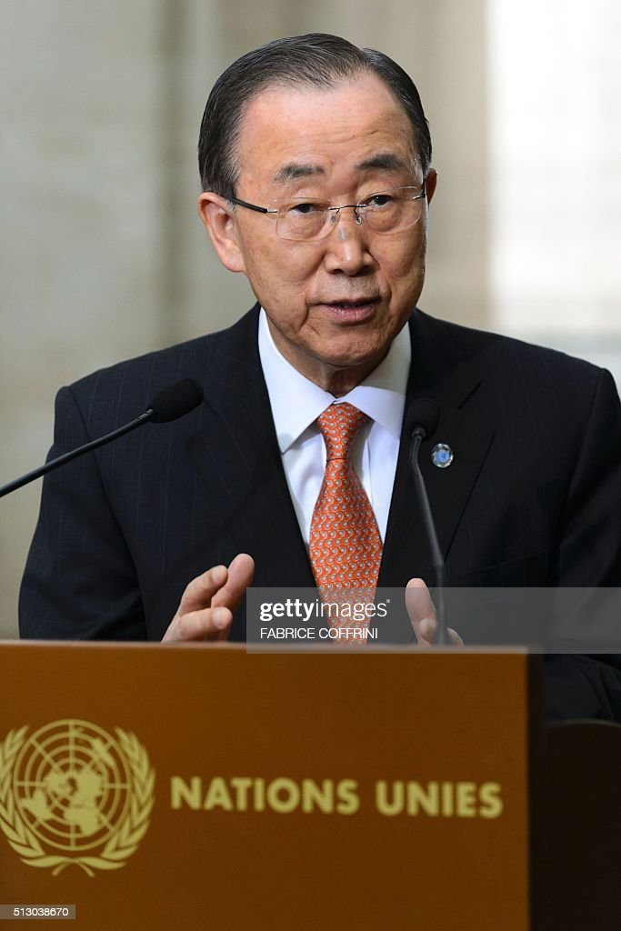 United Nations Secretary General Ban Ki-moon gestures during a press briefing on the sidelines of the main annual session of the United Nations Human Rights Council in Geneva on February 29, 2016. The ceasefire in Syria is holding 'by and large' despite isolated 'incidents' of fighting recorded over the weekend, Ban Ki-moon said today. / AFP / FABRICE