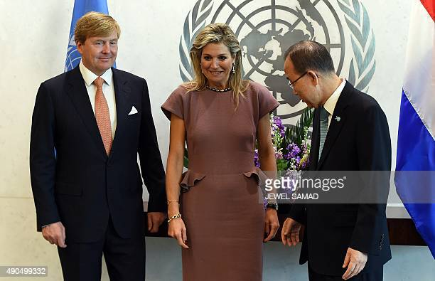 United Nations Secretary General Ban Kimoon greet King WillemAlexander and Queen Maxima of the Netherlands before a meeting on the sideline of the...