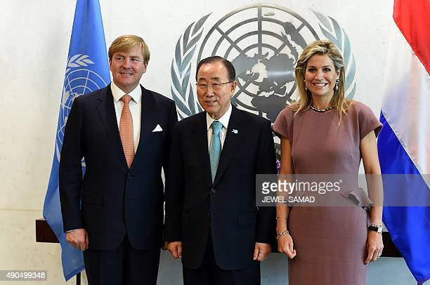 United Nations Secretary General Ban Kimoon greets King WillemAlexander and Queen Maxima of the Netherlands before a meeting on the sideline of the...