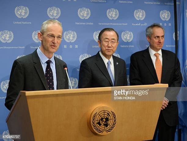 United Nations Secretary General Ban KiMoon listens as outgoing Spokesperson for the SecretaryGeneral Martin Nesirky speaks February 19 2014 at UN...