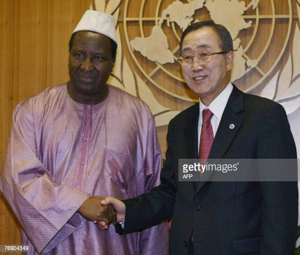United Nations Secretary General Ban Kimoon meets with Chairman of the African Union Chairman Alpha Oumar Konare 20 September 2007 at the United...