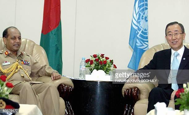 United Nations Secretary General Ban Kimoon meets with General Moin U Ahmed Chief of Army Staff of Bangladesh in Dhaka on November 2 2008 Ban Kimoon...