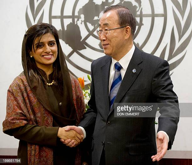 United Nations Secretary General Ban Kimoon meets with Pakistani Foreign Minister Hina Rabbani Khar on January 15 2013 at the United Nations in New...
