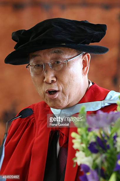 United Nations Secretary General Ban KiMoon recieves an Honorary Doctorate from the University of Auckland on September 3 2014 in Auckland New...