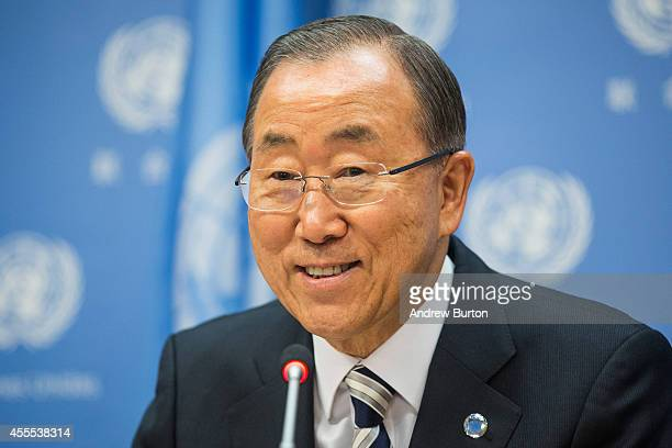 United Nations Secretary General Ban KiMoon speaks at a press conference at the United Nations on September 16 2014 in New York City The United...