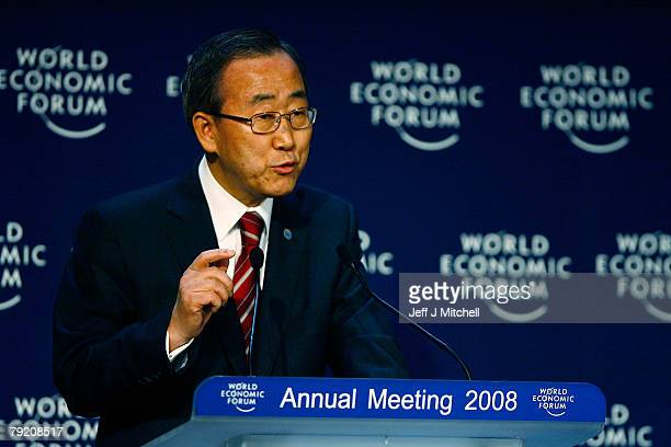 United Nations Secretary General Ban KiMoon speaks at a press conference during the third day of the World Economic Forum on January 25 2008 in Davos...