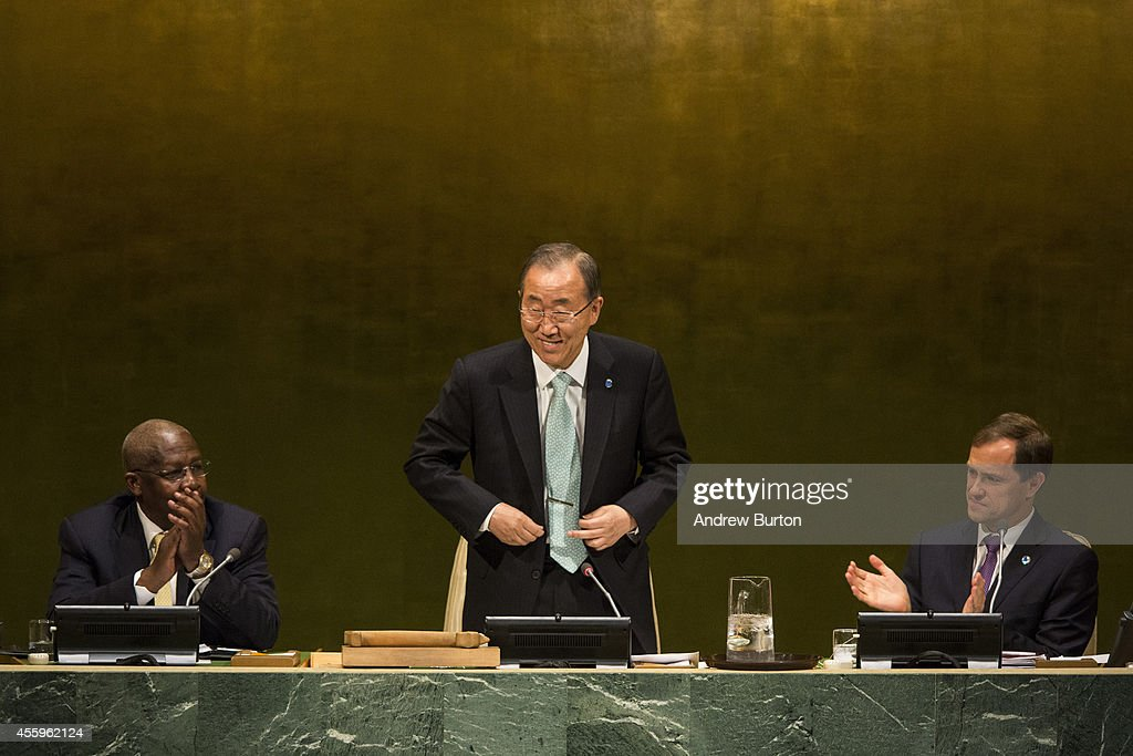 United Nations Secretary General Ban Ki-Moon speaks at the UN Climate Summit on September 23, 2014 in New York City. The summit, which is meeting one day before the UN General Assembly begins, is bringing together world leaders, scientists and activists looking to curb climate change.