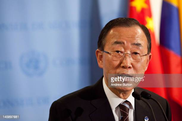 United Nations Secretary General Ban Ki-Moon speaks during a news conference after the UN Security Council held consultations regarding the UN...