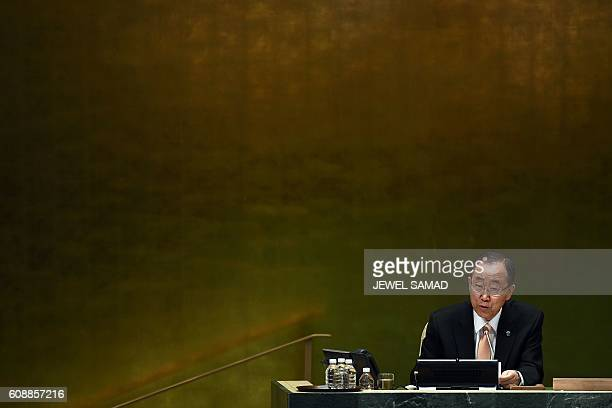 TOPSHOT United Nations Secretary General Ban Kimoon speaks during an event to mark the Anniversary of the Adoption of the 2030 Agenda and the...