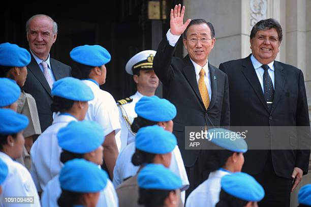United Nations Secretary General Ban KiMoon waves after meeting with Peru's President Alan Garcia at the government palace in Lima on February 15...