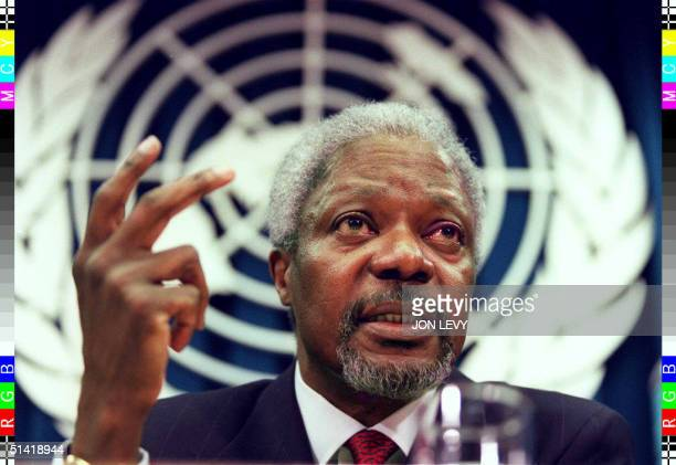 United Nations Secretary General Kofi Annan addresses a press conference 13 February at UN headquarters in New York Annan giving his first press...