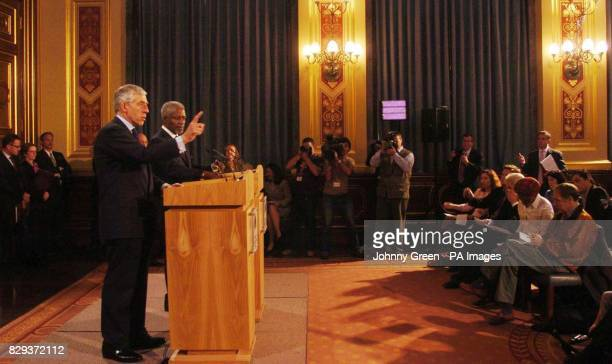 United Nations Secretary General Kofi Annan and British Foreign Secretary Jack Straw speaking to the media during a press conference at the Foreign...