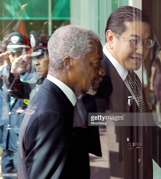 United Nations Secretary General Kofi Annan left and Thai Deputy Prime Minister Surakiart Sathirathai himself a candidate to succeed Annan as...