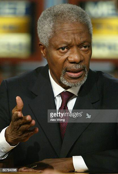 United Nations Secretary General Kofi Annan speaks during an interview on NBC's Meet the Press while taping at the NBC studios May 2 2004 in...