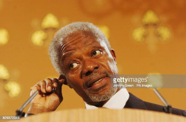 United Nations Secretary General Kofi Annan speaks to the media during a press conference at the Foreign Commonwealth Office in central London