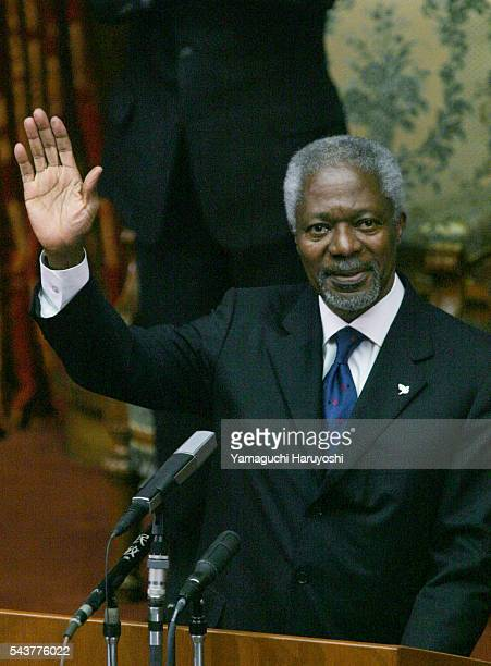 United Nations Secretary General Kofi Annan waves as he leaves the Upper House in Tokyo Annan the first UN chief to address the Japanese Diet called...