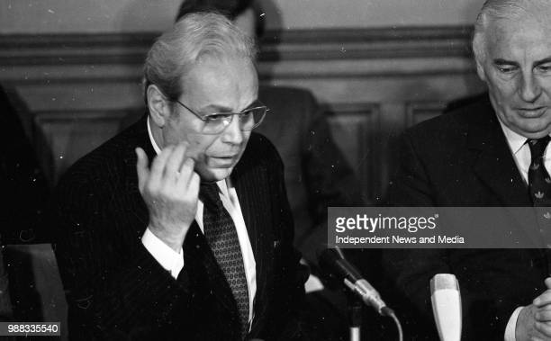 United Nations Secretary General Senor Perez de Cuellar at a press conference at Iveagh House also in the Picture is Mr Peter Barry Minister for...