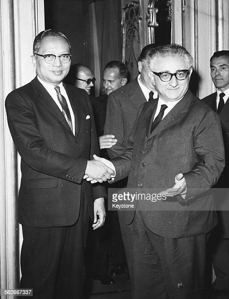 United Nations Secretary General U Thant shaking hands with Italian Prime Minister Giovanni Leone at the Chigi Palace in Rome, July 12th 1963.