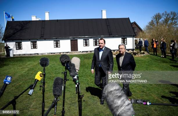 United Nations SecretaryGeneral António Guterres and Sweden's Prime Minister Stefan Löfven arrive to speak to the press during the annual informal...
