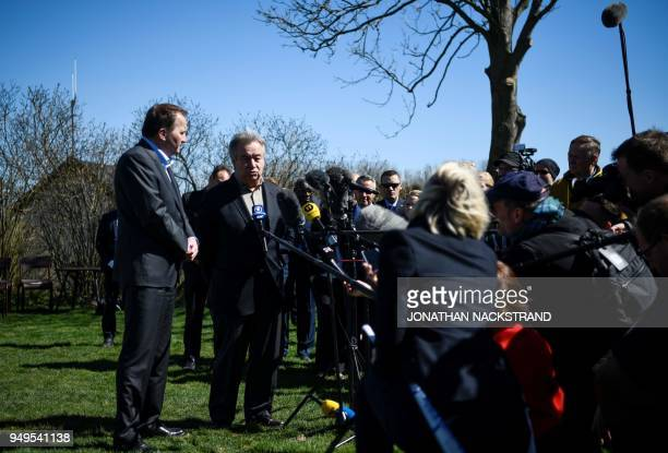 United Nations SecretaryGeneral António Guterres and Sweden's Prime Minister Stefan Löfven speak to the press during the annual informal working...