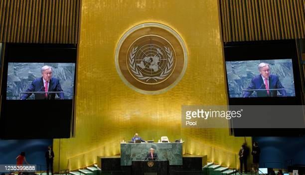 United Nations Secretary-General Antonio Guterres addresses the 76th Session of the U.N. General Assembly at UN Headquarters on September 21, 2021 in...