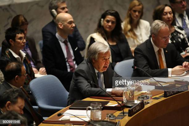 United Nations SecretaryGeneral Antonio Guterres addresses the assembly during a UN Security Council meeting on the situation in Syria at the United...