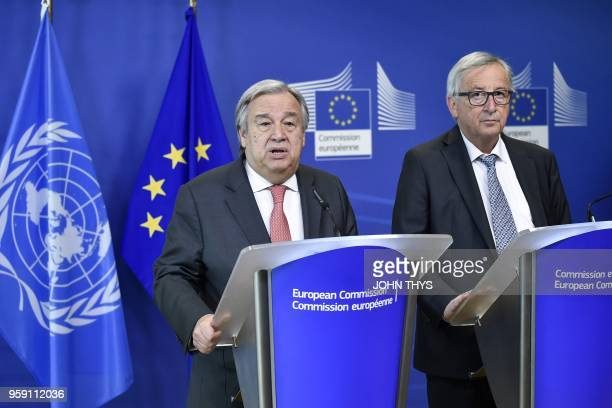United Nations SecretaryGeneral Antonio Guterres and EU Commission President Jean Claude Juncker give a joint press after their bilateral meeting at...