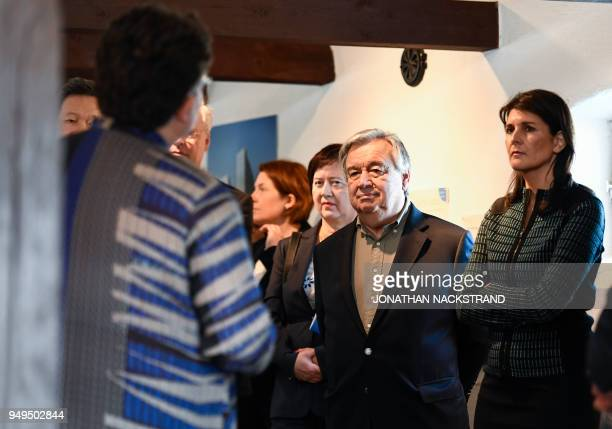 United Nations SecretaryGeneral Antonio Guterres and United States Ambassador to the United Nations Nikki Haley visit a room during the annual...