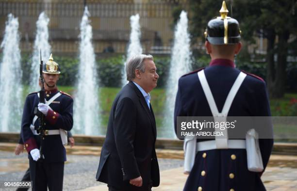 United Nations SecretaryGeneral Antonio Guterres arrives at the Narino presidential palace in Bogota Colombia on January 13 2018 Guterres arrived...