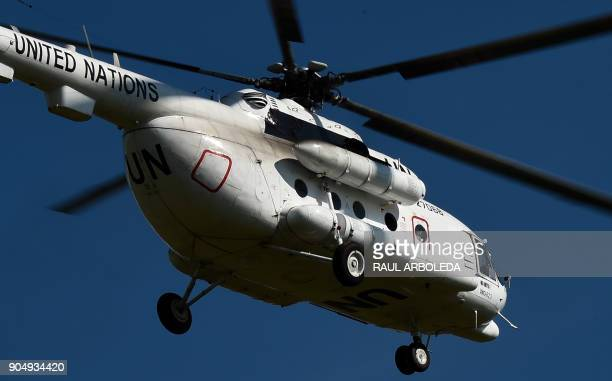 United Nations SecretaryGeneral Antonio Guterres arrives by helicopter to the Buenavista Territorial Area for Training and Reinstatement of FARC in...