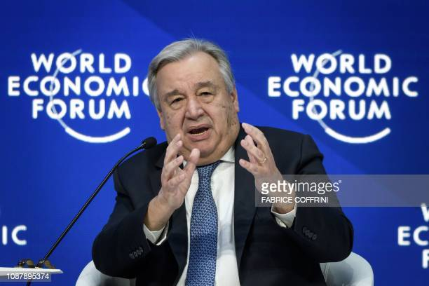 United Nations Secretary-General Antonio Guterres delivers a speech during the World Economic Forum annual meeting, on January 23, 2019 in Davos,...