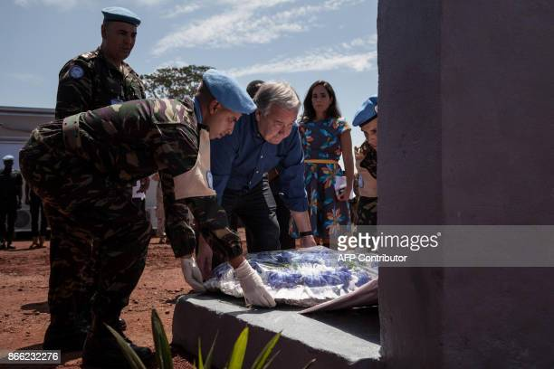 United Nations SecretaryGeneral Antonio Guterres lays a wreath in tribute to the peacekeepers killed in Bangassou this year at the Minusca base in...