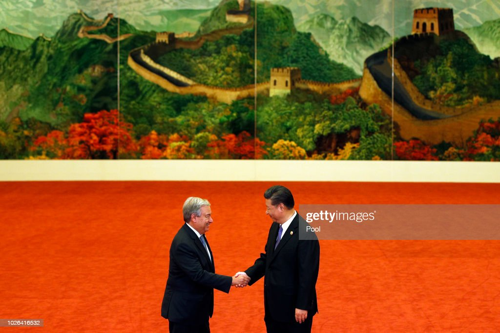 United Nations Secretary-General Antonio Guterres, left, shakes hands with Chinese President Xi Jinping during the Forum on China-Africa Cooperation held at the Great Hall of the People on September 3, 2018 in Beijing, China.