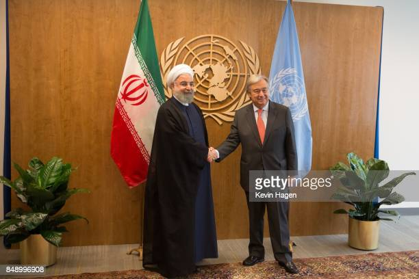 United Nations SecretaryGeneral Antonio Guterres meets with the Islamic Republic of Iran's President HE Mr Hassan Rouhani during a bilateral meeting...