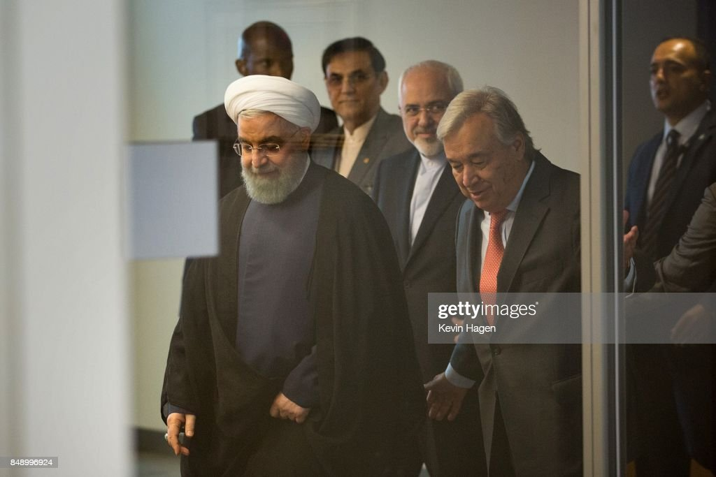 Iranian President Rouhani Meets With UN Secretary General Guterres : News Photo