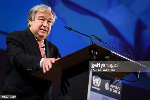 United Nations SecretaryGeneral Antonio Guterres presents his agenda for disarmament during a confrerence at the University of Geneva on May 24 2018...