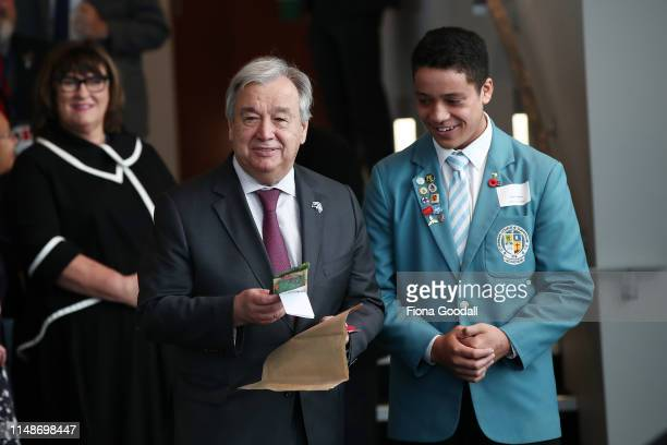 United Nations SecretaryGeneral Antonio Guterres receives gifts including beeswax wraps from Tiaki Freema of St Patricks arrives to meet with climate...