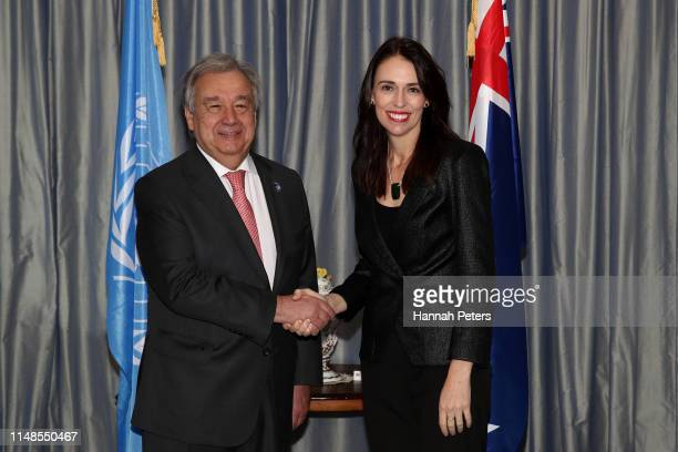United Nations SecretaryGeneral Antonio Guterres shakes hands with New Zealand Prime Minister Jacinda Ardern at Government House on May 12 2019 in...