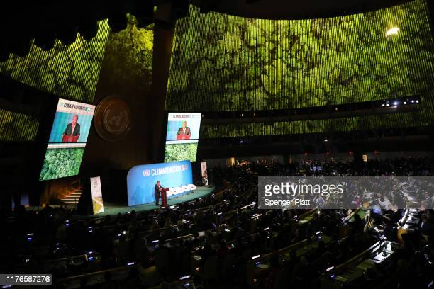 United Nations SecretaryGeneral Antonio Guterres speaks at the at a summit to address climate change at the UN on September 23 2019 in New York City...