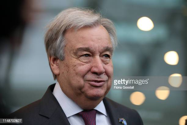 United Nations SecretaryGeneral Antonio Guterres speaks to media after meeting with climate and environmental change youth leaders and Climate Change...