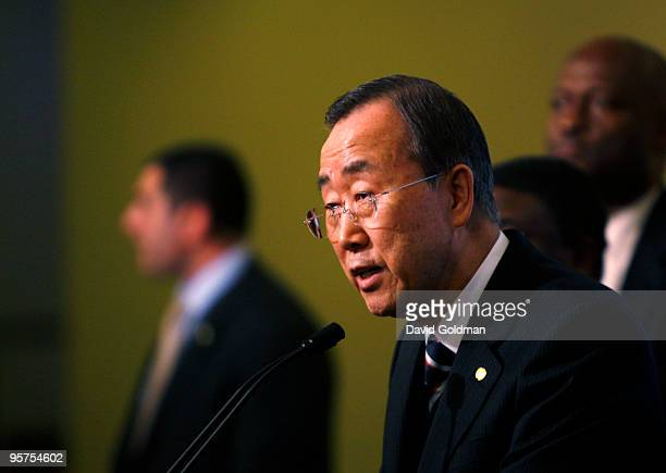 United Nations Secretary-General Ban Ki-moon addresses the media on the situation in Haiti following an earthquake at United Nations Headquarters on...