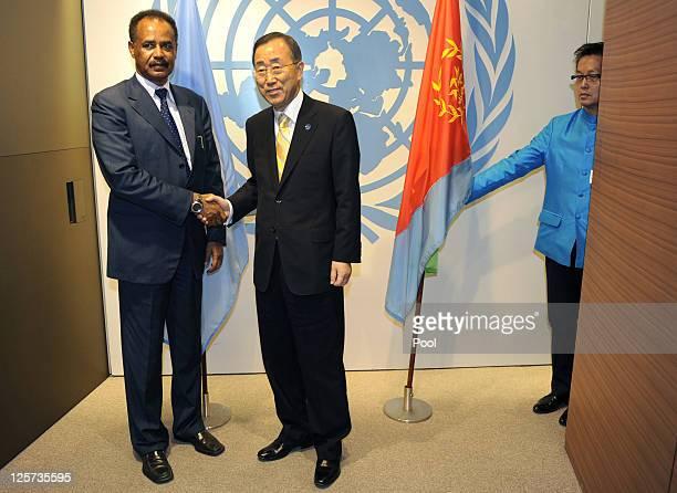 United Nations SecretaryGeneral Ban Kimoon and Isaias Afewerki President of Eritrea meet at the 66th General Assembly Session at the United Nations...