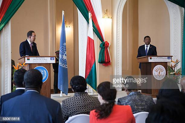 United Nations Secretary-General Ban Ki-Moon and Malagasy President Hery Rajaonarimampianina give a joint press conference on May 11, 2016 at the...