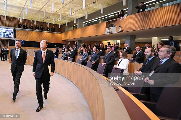 United Nations SecretaryGeneral Ban KiMoon arrives on April 2 2013 at the general council of the Andorra principality to give a speech in front of...