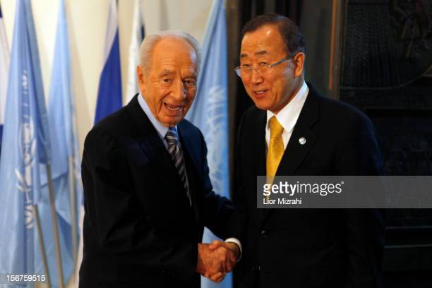 United Nations Secretary-General Ban Ki-moon attends a press conference with Israeli President Shimon Peres on November 20, 2012 in Jerusalem,...