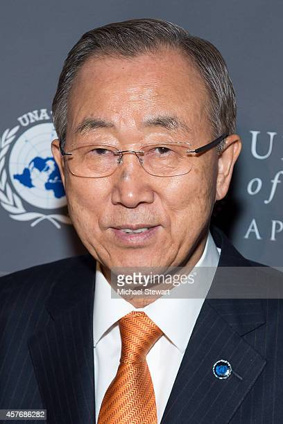 United Nations SecretaryGeneral Ban Kimoon attends the 2014 Global Leadership Dinner at Cipriani 42nd Street on October 22 2014 in New York City