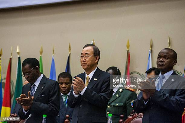 United Nations SecretaryGeneral Ban Kimoon attends to the 23rd African Union Peace and Security Council meeting in Malabo Equatorial Guinea on June...