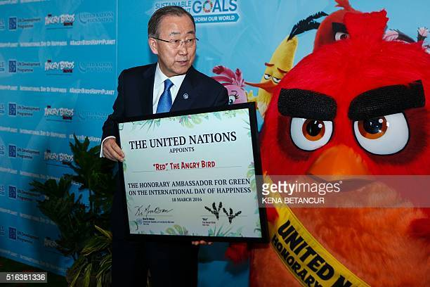 United Nations SecretaryGeneral Ban Kimoon designates Angry Bird Red as Honorary Ambassador for Green at the United Nations General Assembly Hall...